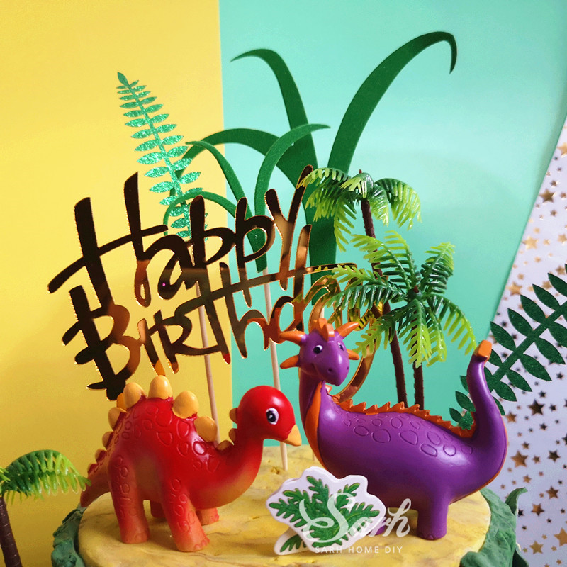 Image 2 - Coco Tree Leaf Cartoon Dinosaur Cake Topper Dessert Decoration for Birthday Party Lovely Gifts-in Cake Decorating Supplies from Home & Garden