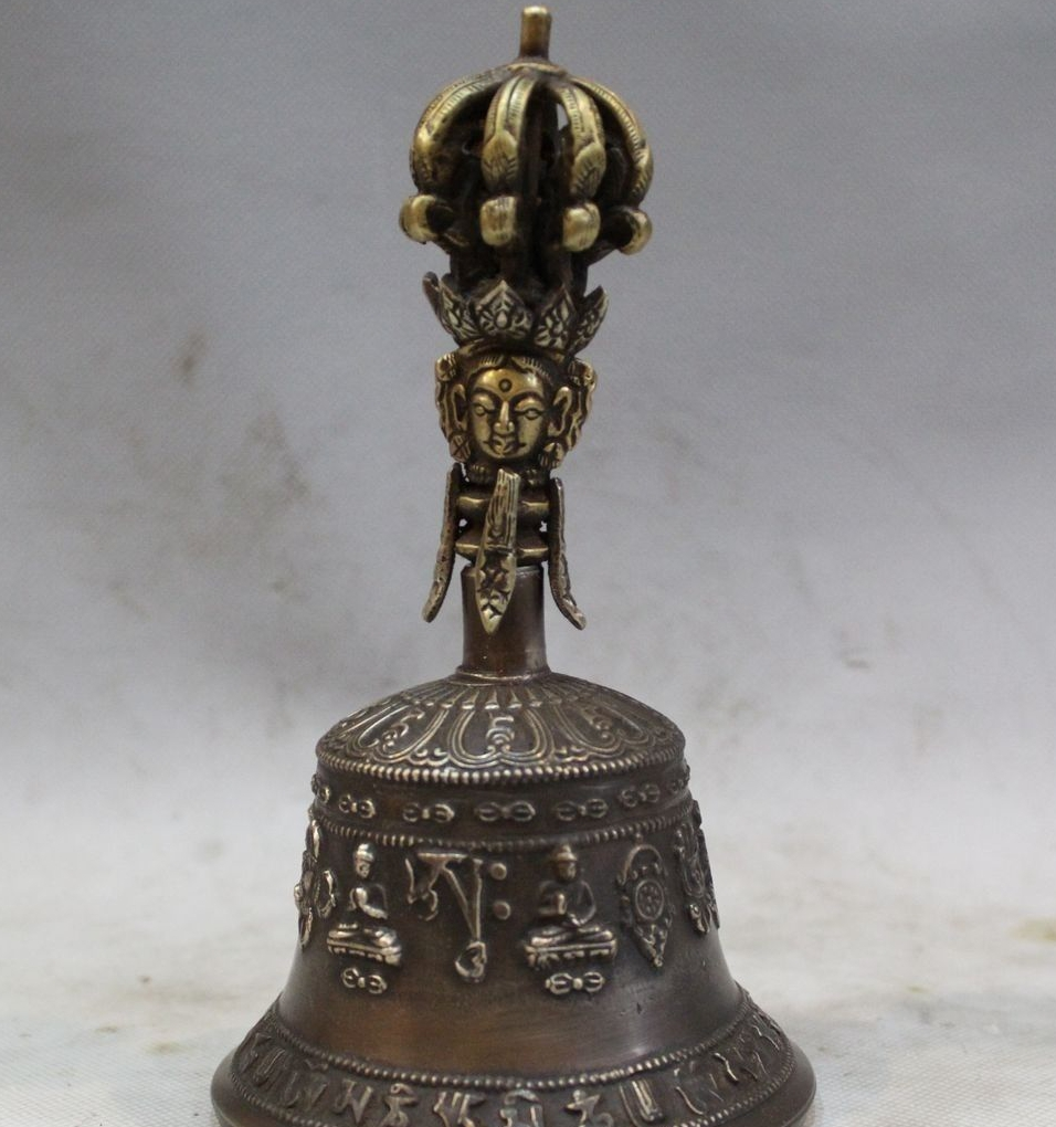 Old Tibet Dynasty Palace Bronze Buddha Dorje Vajra Bell & Holder Box Small Bell