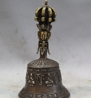 Old Tibet Dynasty Palace Bronze Buddha Dorje Vajra Bell & Holder Box small bell