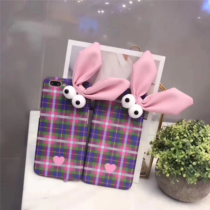 Lovely Cute Grid Check Style Hard PC Rabbit Ear Mobile Phone Housing For iPhone10 X 8 8Plus Protective Shell Coque Funda Covers