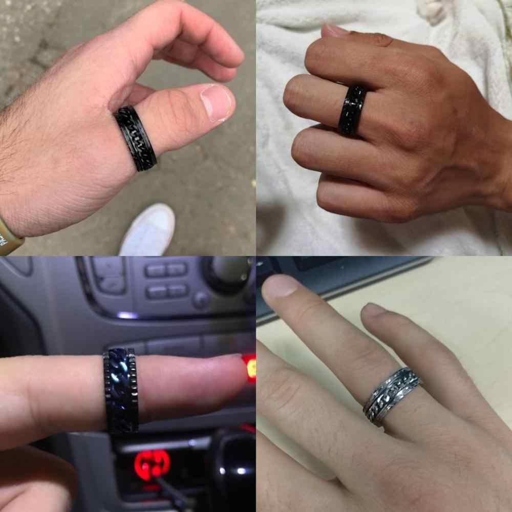 Letdiffery Punk 8mm Spinner Kette Männer Drehbare Ring Schwarz Blau Edelstahl Drehbare Kühlen Schmuck Party Geschenk Anel Allianz