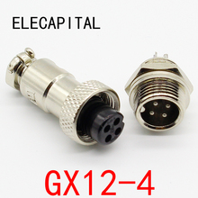 1pcs GX12 4 Pin Male Female 12mm Wire Panel Connector Aviation Plug L90 GX12 Circular Connector