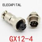 1pcs GX12 4 Pin Male & Female 12mm Wire Panel Connector Aviation Plug L90 GX12 Circular Connector Socket Plug Free Shipping