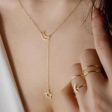 Fashion Moon Star Pendant Choker Necklace Gold Color Alloy Clavicle Long Chain Necklace for Women Collares Jewelry women fashion star pendant necklace personality creative clavicle chain long necklace collares jewelry xl527