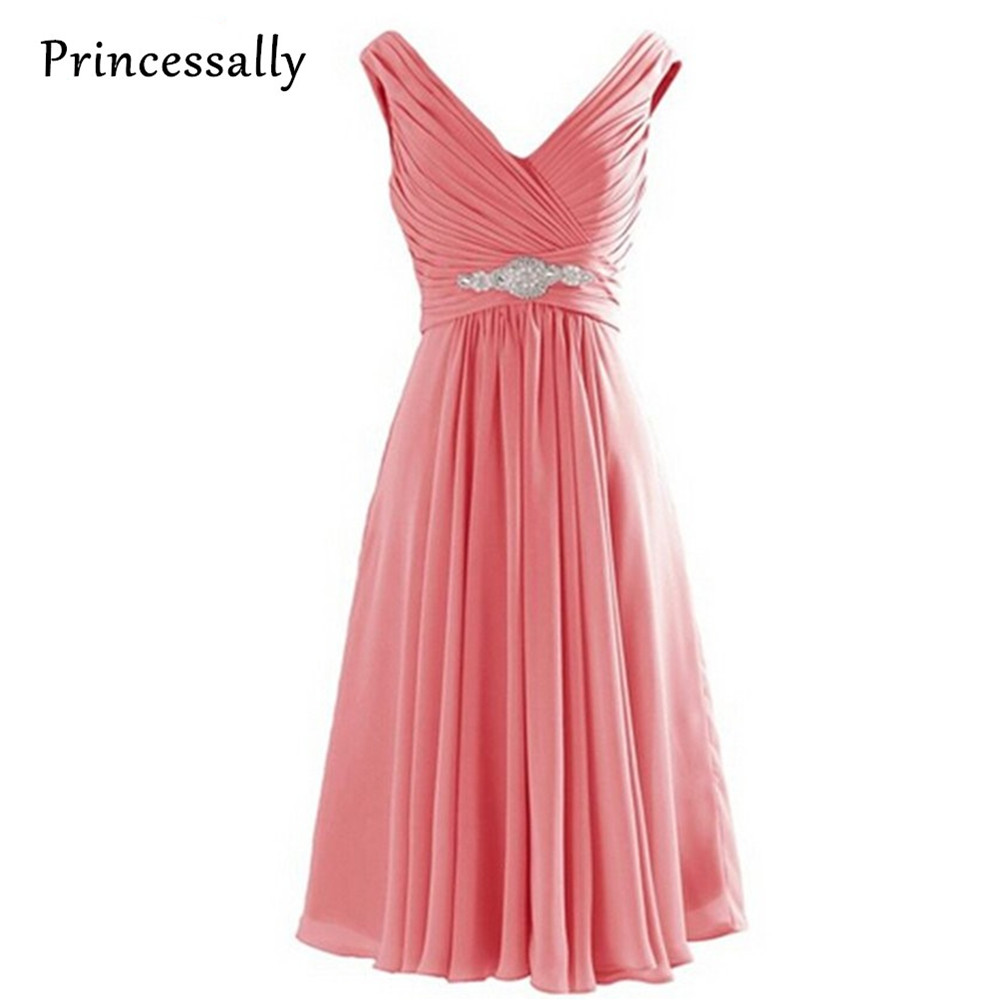 Bridesmaid Dresses Coral Colored V Necked Pleated Lavender