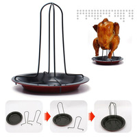 Carbon Steel Upright Chicken Roaster Rack With Bowl Tin Non Stick Cooking Tools Baking Pan Grilling