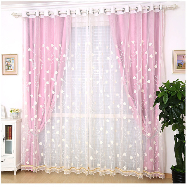 Korean garden high end embroidered flowers gauze curtains solid ...