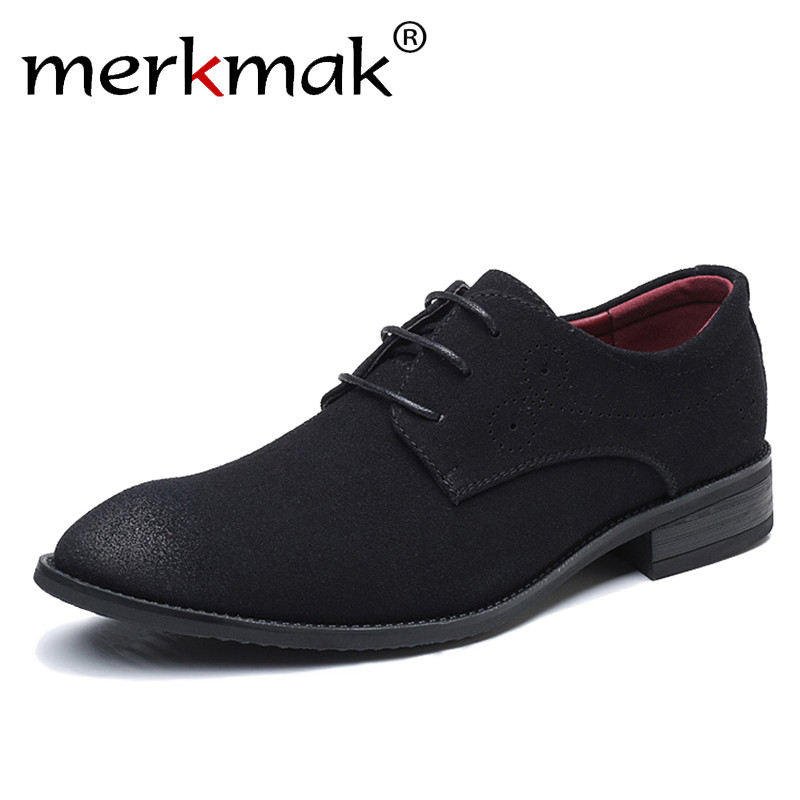 Merkmak Big Size 47 48 Men Casual Shoes Brand Suede Leather Classic Retro Brogue Oxfords Shoes Comfortable Soft Men's Flats