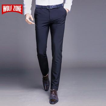 Moda nowa bawełna wysokiej jakości męskie spodnie proste na wiosnę i lato długie męskie klasyczne eleganckie spodnie codzienne pełnej długości w połowie tanie i dobre opinie WOLF ZONE SY9808 Formalne Mieszkanie spandex COTTON Midweight NONE JERSEY skinny 2 4 - 3 6 Zipper fly