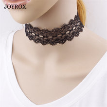 JOYROX Charm Simple Black White Lace Choker Necklace Vintage Collar Jewelry Gothic Hollow Colar Bisuteria Chocker Jewellery