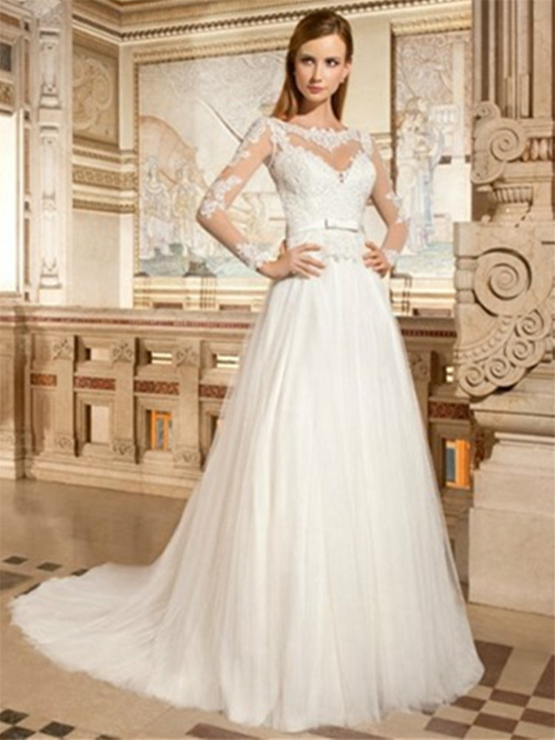 Aliexpresscom Buy Wedding Gown Chiffon Amsale Tulle Sleeves
