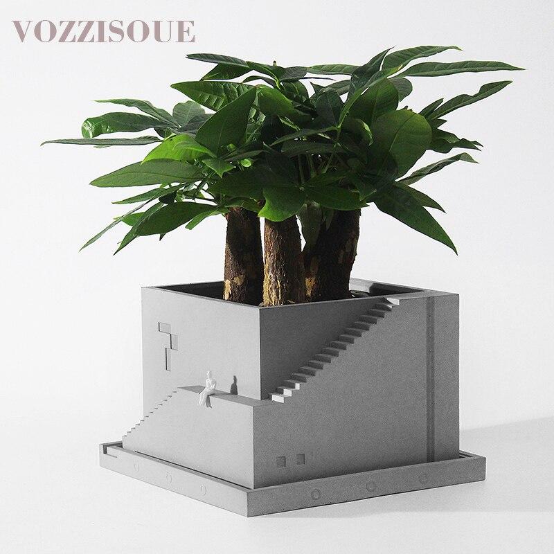 HOT Designer Maceta Suculenta cadeaux créatifs béton bureau décoration Pots de plantes Succulent Pot Jardin intérieur Air plante titulaire