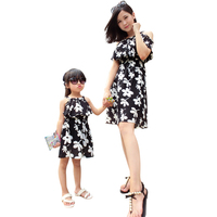 Summer Mom Daughter Dress Family Matching Outfit Mother Daughter Dresses Fashion White O Neck Floral Dress
