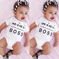 Bebê Recém-nascido Do Bebê Das Meninas Dos Meninos Macacão Roupas Bodysuit de Manga Curta Carta Chefe Roupas 0-18 M 2016