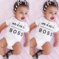 Newborn Infant Baby Boys Girls Bodysuit Short Sleeve Letter Boss Jumpsuit Outfits Clothes 0-18M 2016