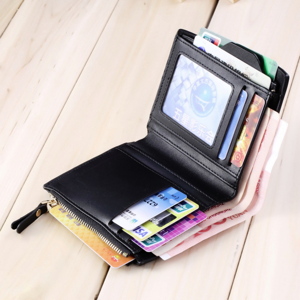 New Luxury Men's Faux Leather ID credit Card holder Bifold Coin Purse Wallet Pockets Male Clutch Purse For Men Teenager
