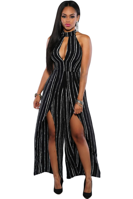 Elegant Long Mesh ceremony party Overalls For Night clubbing Women Turtleneck Black White Stripes Slit wide Legs Jumpsuits 64075