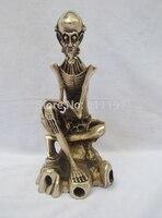 Уникальные подарки ручной работы Тибет серебряные скелеты статуя, украшение дома скульптура черепа металлические изделия