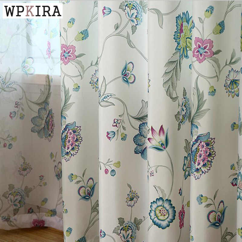Classical Rustic Window Treatment Tulle Curtains Flower Home Decoration Window Blinds Home Textile Curtains Living Room 357&30