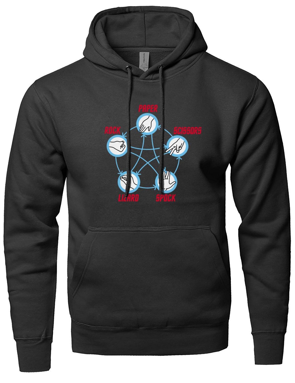 Rock Paper Scissors Lizard Spock Adult sweatshirt men 2019 new fashion long sleeve brand hooded fleece streetwear male