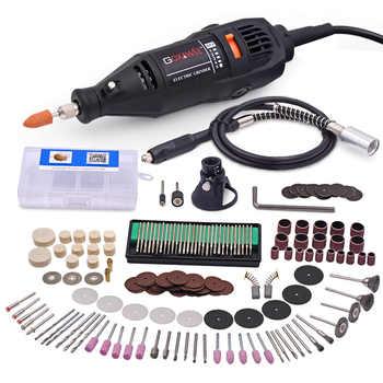 GOXAWEE 220V Mini taladro eléctrico grabador de dragel amoladora de velocidad Variable herramienta de molienda con accesorios de herramientas rotativas