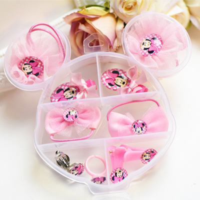 Fashion Children Headwear Bowknot Cartoon Hair Clips Gum Elastic Bands Hair Accessories Barrettes Scrunchies For Cute Baby han edition of the new hair headwear bowknot lace elastic hair bands free home delivery