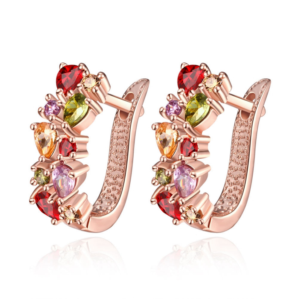 Schmuck & Zubehör Ohrringe Gehorsam Aruel New Fashion Rose Gold Color Colorful Zircon Charm Earring Jewelry Women Charm Lady Clip Earrings Anniversary Jewelry Gifts Modische Muster