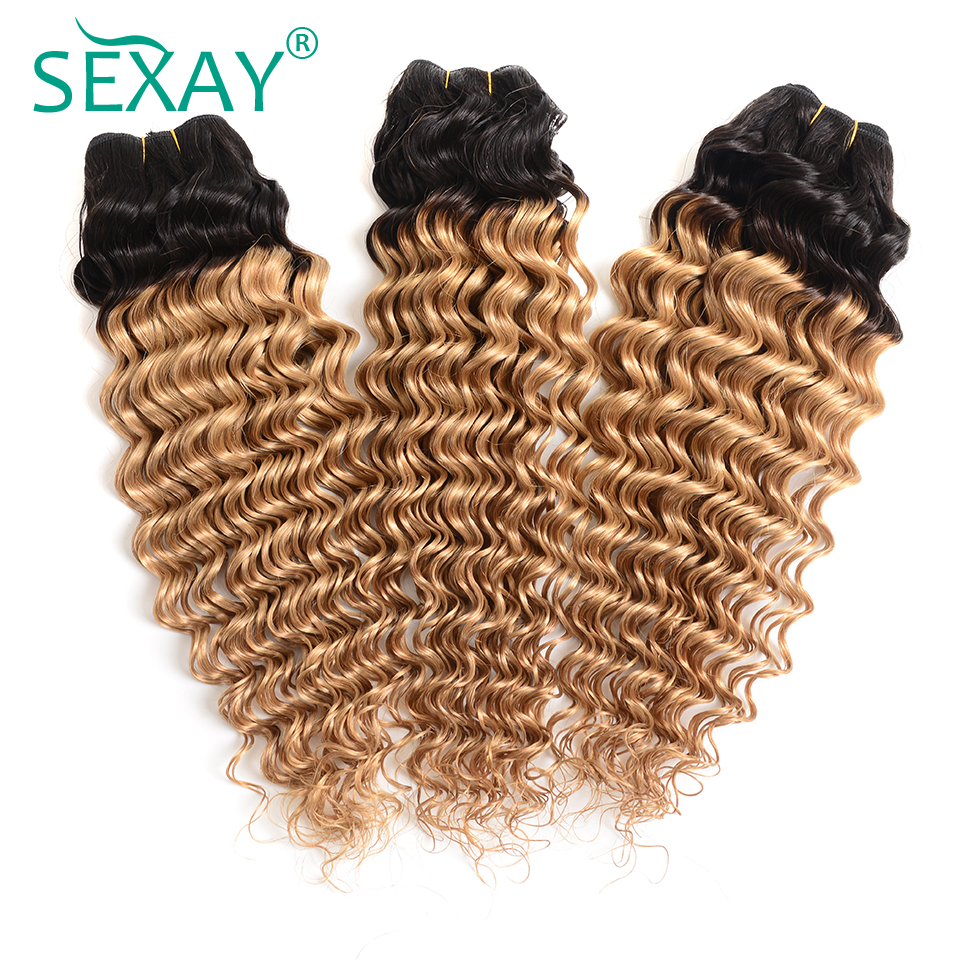 Advice Sexay Pre Colored Deep Wave Ombre Human Hair Weaves 3