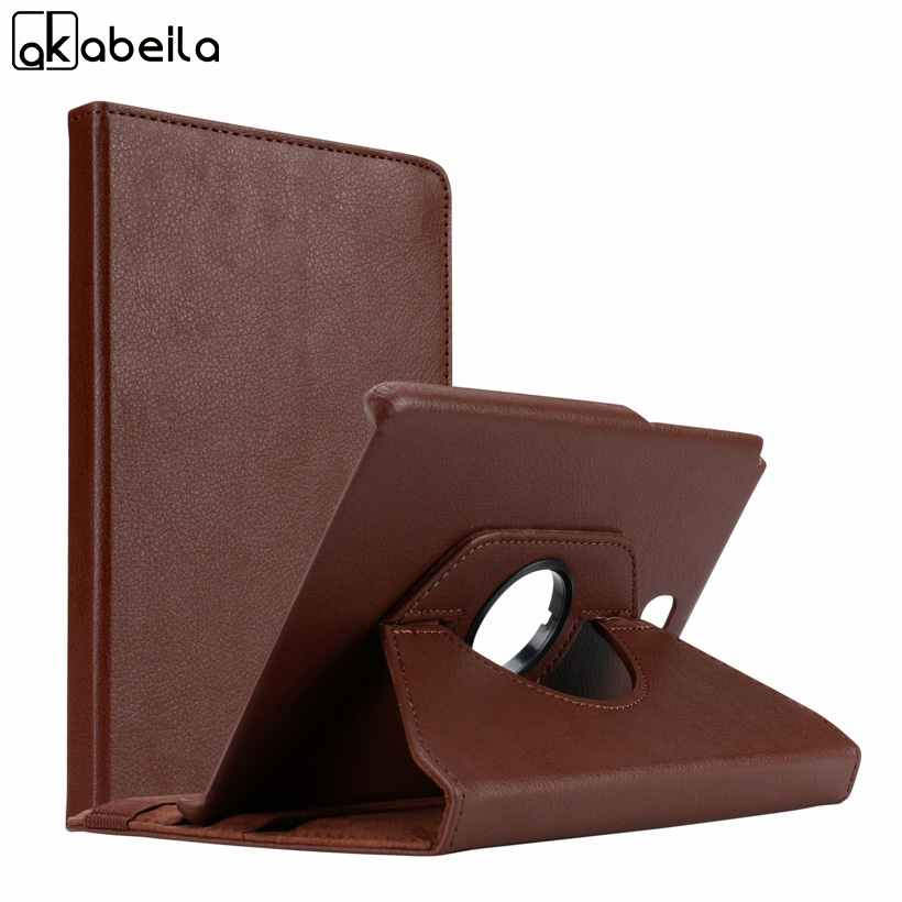 AKABLEILA Litchi Pattern Flip Tablet PU Leather Cases For Samsung Galaxy Tab A 8.0 inch T350 T355 Case 360 Rotating Stand Cover
