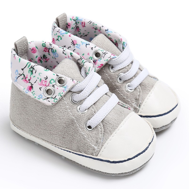 Crib-Shoes Flower-Printed Prewalkers Infants Baby Fashion Classic 0-18M Lace-Up High-Top title=