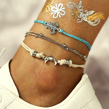 3pcs/set Vintage Silver Turtle Dolphin Pendant Anklets Women Fashion Boho Handmade Weave Rope Anklet On Leg Chain Foot Jewelry