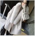 Женская мода большой кокон типа Кашемир воротники свободные мыс Моды длинный отрезок шерстяной coatautumn и зимой Корейский теплый