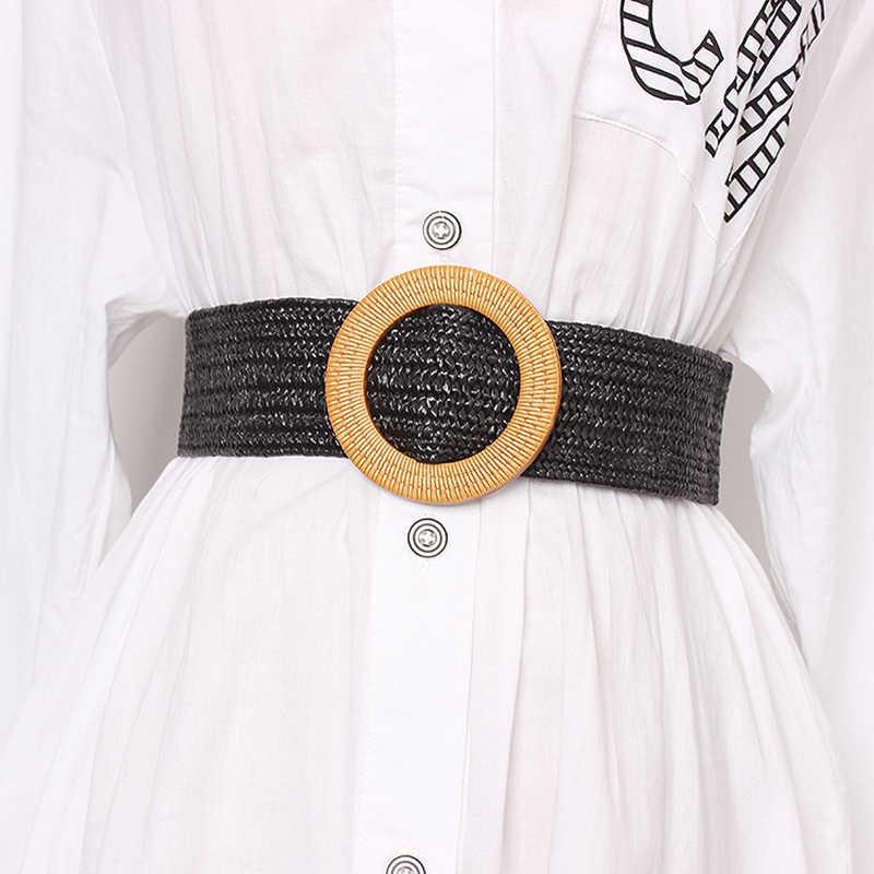 Twotwinstyle verão do vintage cinto largo para as mulheres de cintura alta listrado cintos femininos vestidos acessórios 2019 moda nova