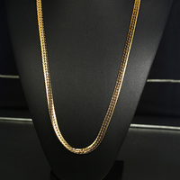 Vnox 30 Gold Color Punk Fine Curb Chain Necklace Stainless Steel Flat Snake Link Chains Rocky