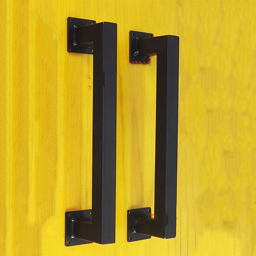 2pcs Square doorknob vintage and retro iron black steel interior barn sliding wood door pull handles entrance door handle solid wood pull handles pa 377 l300mm for entry front wooden doors