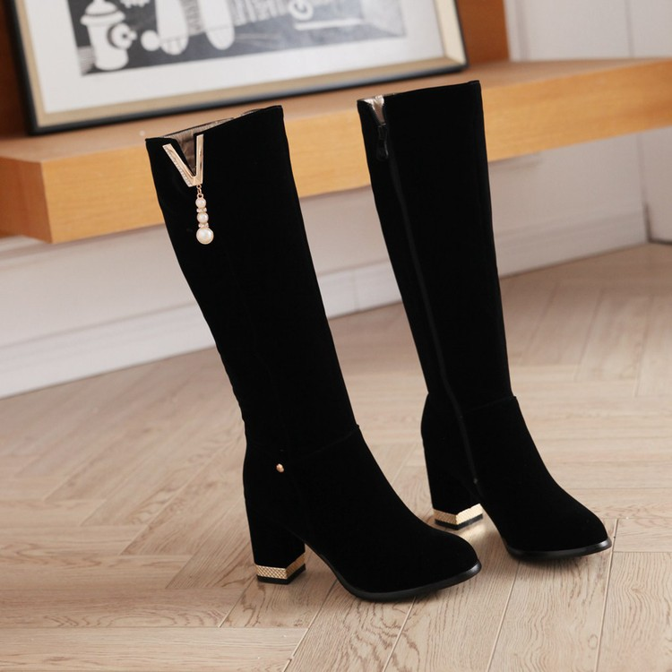 New Beaded Womens Large Size 40 High-heeled Suede Black Knee High Boots Autumn And Winter 7cm10
