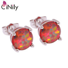 CiNily Created Orange Fire Opal 8mm Silver Plated Earrings Wholesale Fashion for Women Jewelry Stud Earrings 8mm OH1433