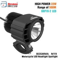 Bosmaa  Motorcycle LED Headlight Spotlight 22W 3200Lm Super Bright White Moto Fog DRL Headlamp Work Light|  -