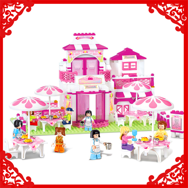 SLUBAN 0150 Block Friends Romantic Restaurant Model 306Pcs DIY Educational  Building Toys Gift For Children Compatible Legoe sluban 2500 block vehicle maintenance repair station 414pcs diy educational building toys for children compatible legoe