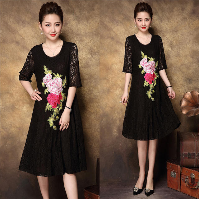 1c188154e 2018New Arrival China style Fashion Women lace embroidery elegant dress  middle age summer style party dress