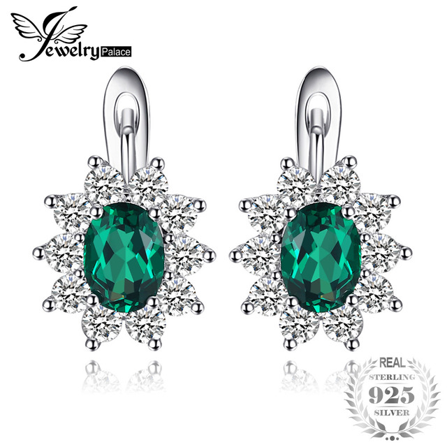 Jewelrypalace Clic 2 26ct Oval Created Emerald Clip Earrings 925 Sterling Silver Fashion Princess Diana Wedding