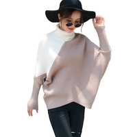 Fashion Hit Color Spliced Turtleneck Knitted Sweater Women Autumn Winter Thicken Warm Oversized Bat Sleeve Pullovers