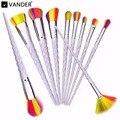 Vander 10pcs Professional Rainbow Color Makeup Brushes Concealer Foundation Powder Cosmetic Kits Puff Kabuki Blusher maquiagem