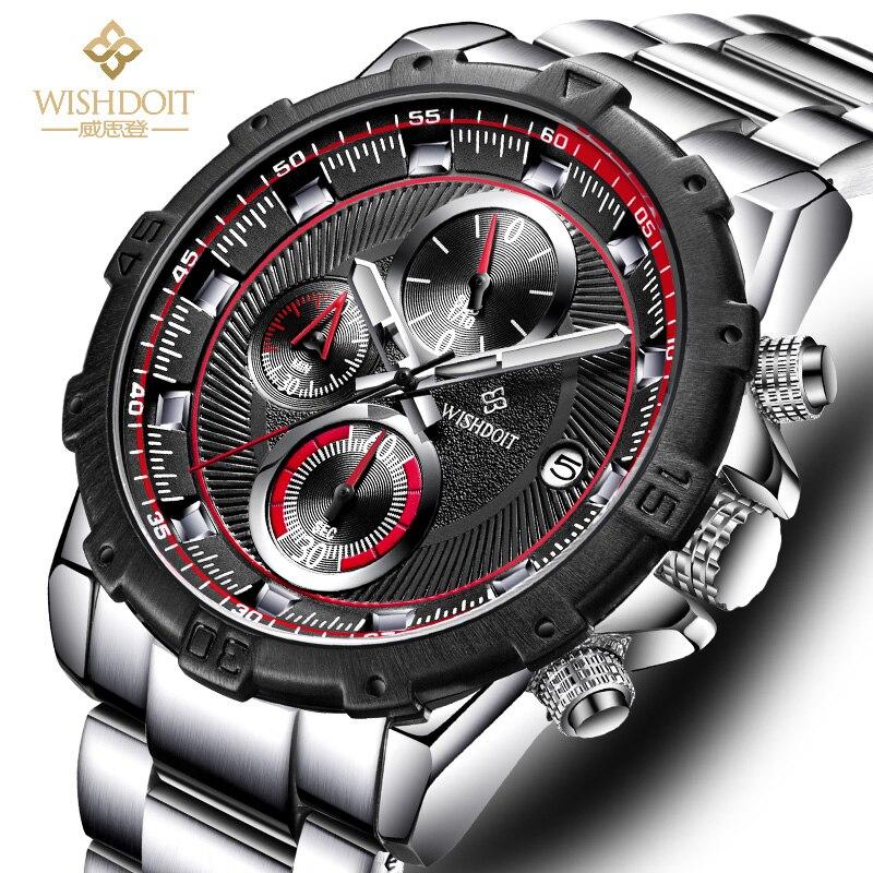 Men Watches Skeleton Military WISHDOIT Chronograph Quartz Man Big Dial Stainless steel Sport Watch Army Clock Relogio Masculino стоимость
