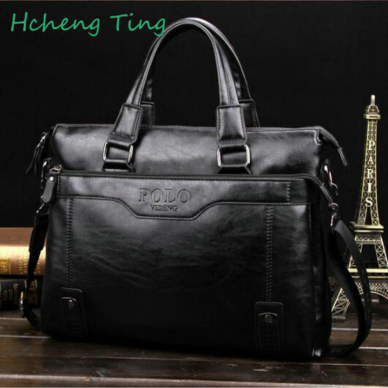 ФОТО Men Brand POLO Genuine Leather Mens Handbag,high Quality Casual Business Men Bag Big Men's Briefcase Laptop Bags