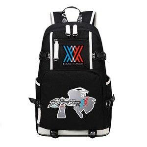 Image 3 - DitF mochila de viaje de DARLING in the FRANXX para mujer, bolso escolar de lona para adolescentes y niñas, ICHIGO MIKU ZERO TWO Cos