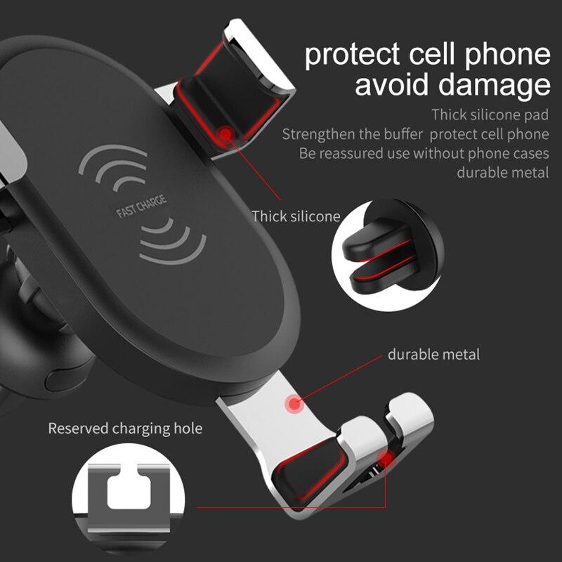 DCAE 10W Fast QI Wireless Cargador de coche Soporte de gravedad para - Accesorios y repuestos para celulares - foto 5