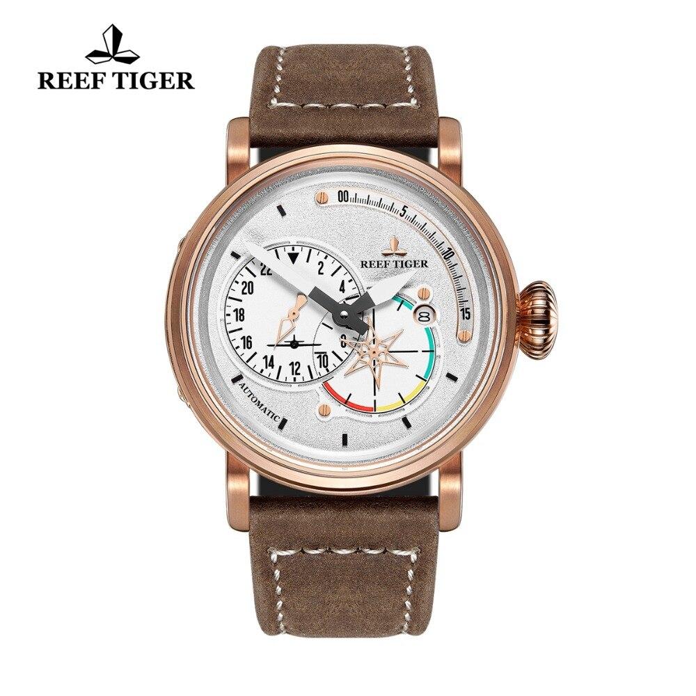 Reef Tiger/RT пилот Часы для мужчин белый циферблат розовое золото Военная Униформа часы автоматические часы с датой RGA3019