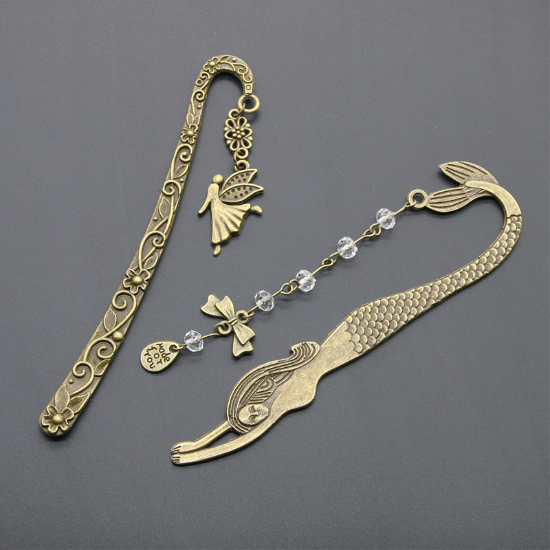1Pc Retro Alloy Metal Bookmark Mermaid Beaded Or Angels Butterfly Fashion Vintage Bookmark
