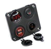 Dual USB Charger 2.1A 2.1A Voltmeter 12 V Stopcontact + ON-OFF Schakelaar voor Auto Boot Marine Vrachtwagen Camper voertuigen (rood)